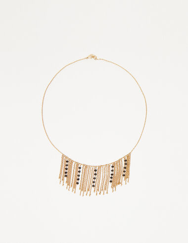 Chains necklace in gold tone with black beads - Necklaces - Nícoli