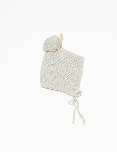 Light grey bonnet with pompom - View all > - Nícoli