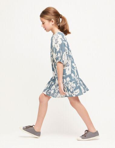 Robe manches ballon fleur tropicale bleue - Voir tout > - Nícoli