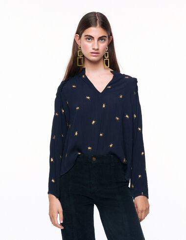 Camisa cuello perkins escote pico escarabajos antracita - Ver todo > - Nícoli