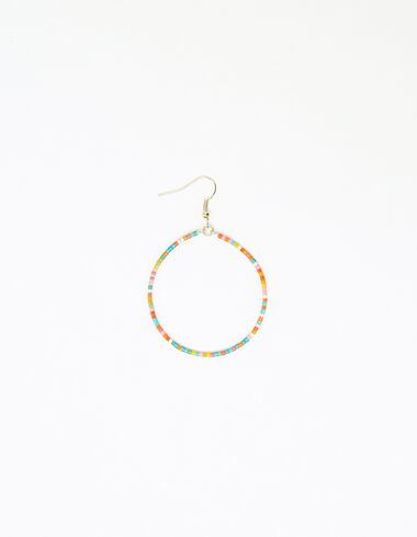 Multicoloured beaded hoop earring - View all > - Nícoli