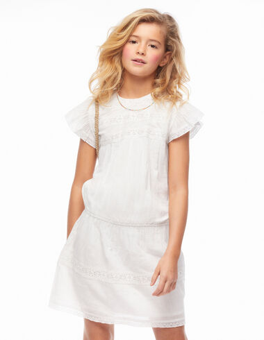 White ruffle shoulder lace elasticated dress - View all > - Nícoli