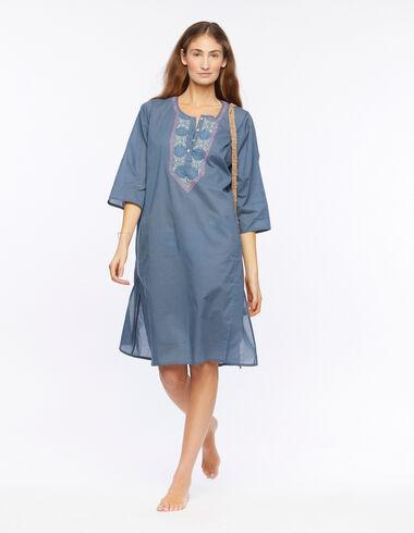 Kurta larga bordada azul - Vestidos - Nícoli