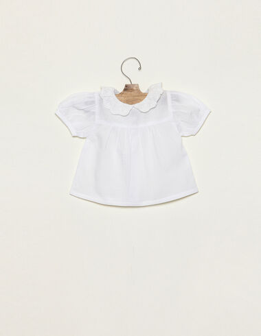 White collar neckline shirt  with lace - Spring Favourites - Nícoli