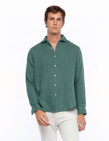 Chemise à col en V verte - Chemises - Nícoli