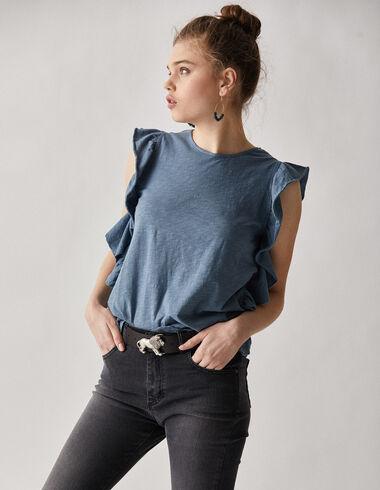 Women's  teal ruffle top - T-Shirts - Nícoli