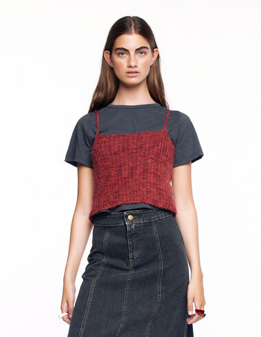 Multicoloured terracotta ribbed top - View all > - Nícoli