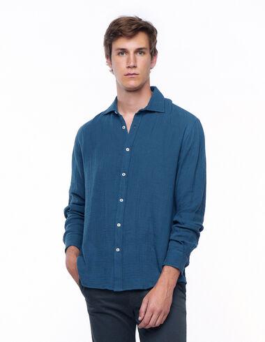 Chemise à col en V vert foncé - Chemises - Nícoli