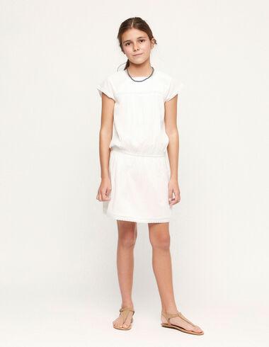 Robe plissée à fronces en dentelle blanche - Voir tout > - Nícoli