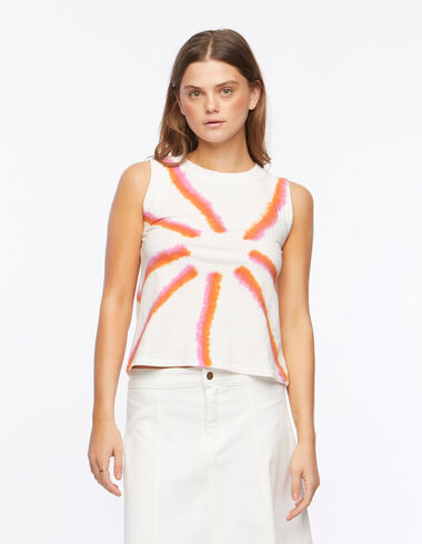 Orange and strawberry tie dye short-sleeved t-shirt - All About Colours - Nícoli