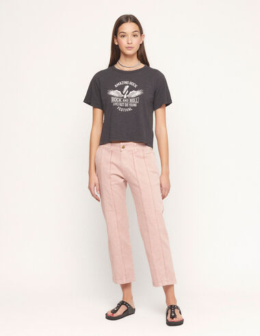 Pink straight leg fringed trousers - View all > - Nícoli