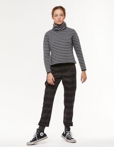 Pantalon droit carreau écossais marron - Voit tout > - Nícoli