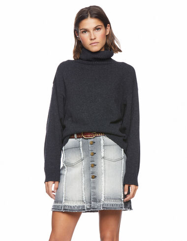 Short anthracite frayed denim skirt - View all > - Nícoli
