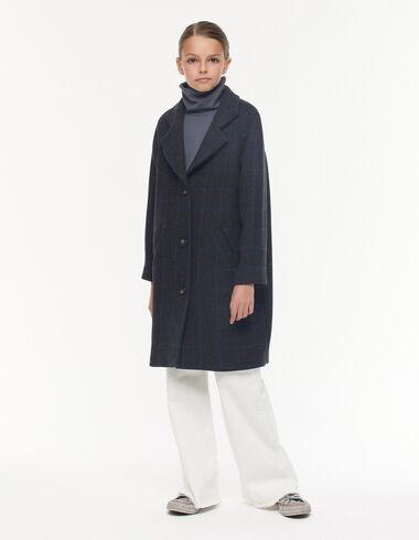 Manteau revers carreaux bleus - Vêtements extérieurs - Nícoli