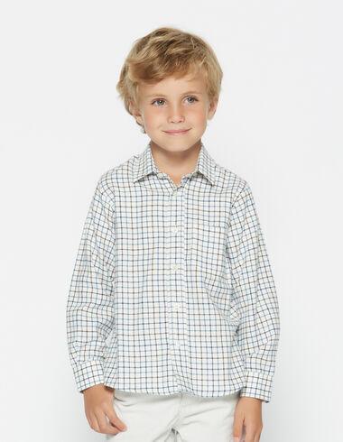 Camisa niño cuello pico azul - Camisas - Nícoli