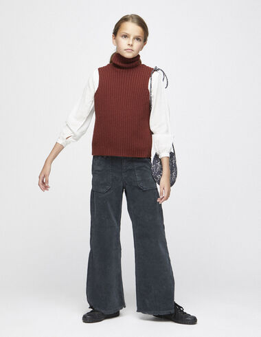 Anthracite corduroy wide leg trousers with pockets - View all > - Nícoli