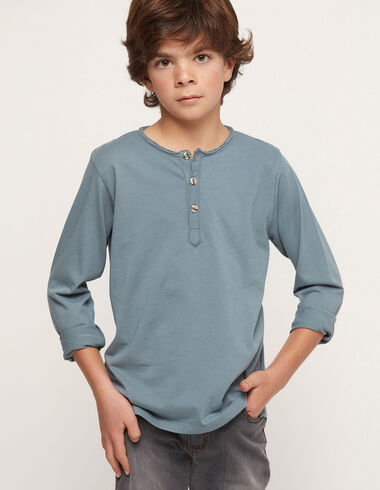 Blue t-shirt with buttons - Charity t-shits - Nícoli