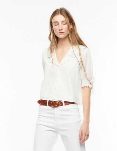 White double collared pin-tuck shirt - Blouses and Tops - Nícoli