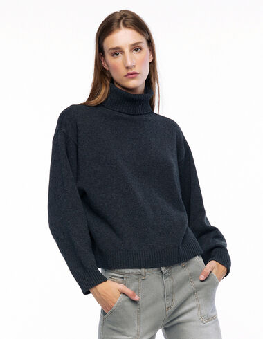 Pull col roulé anthracite - Long Velvet Skirt - Nícoli