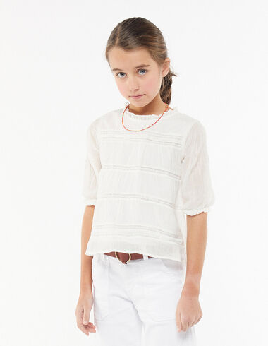 Chemise col perkins manches longues blanche - Pink & White - Nícoli
