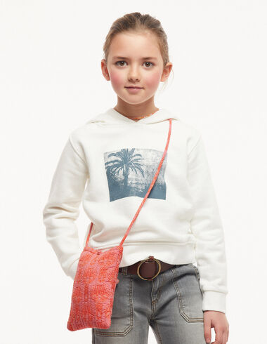 Ecru hoodie with palm trees - Jumpers & Sweatshirts - Nícoli