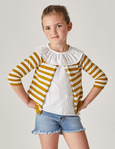 Girl's mustard striped cardigan - Cardigans - Nícoli
