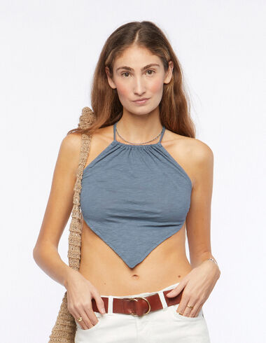 Blue v-neck halter top - New Summer Tees - Nícoli