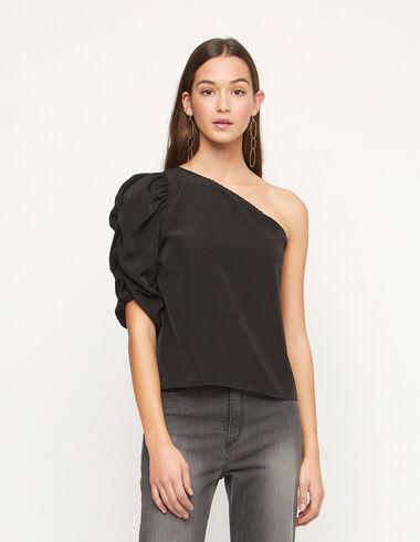 Black shirred sleeve shirt - Total Black - Nícoli