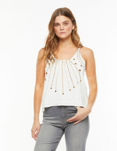 White gold beaded top - Blouses and Tops - Nícoli