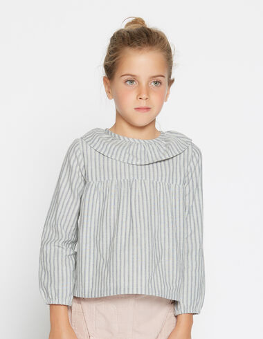Girl's striped ruffle blouse - View all > - Nícoli