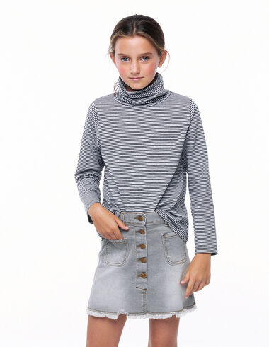 Anthracite grey striped turtleneck T-shirt - New in - Nícoli