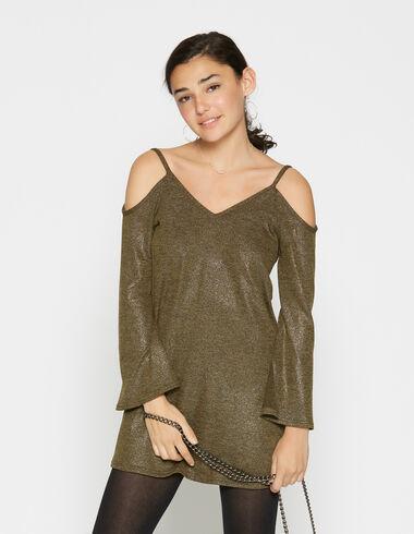 Robe verte pailletée à bretelles pour filles - Robes - Nícoli