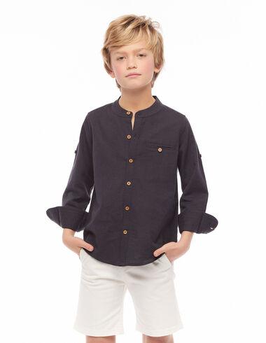 Anthracite grandad collar shirt with topstitching - Shirts - Nícoli