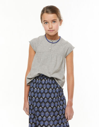 Grey t-shirt with buttons - View all > - Nícoli