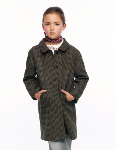 Green tweed round neck coat - View all > - Nícoli