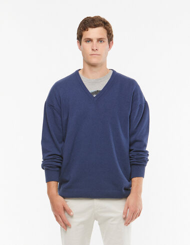 Blue v-neck jumper - View all > - Nícoli