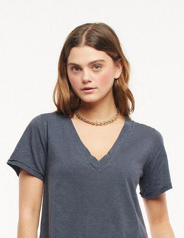 T-shirt col V anthracite - Tee-shirts - Nícoli