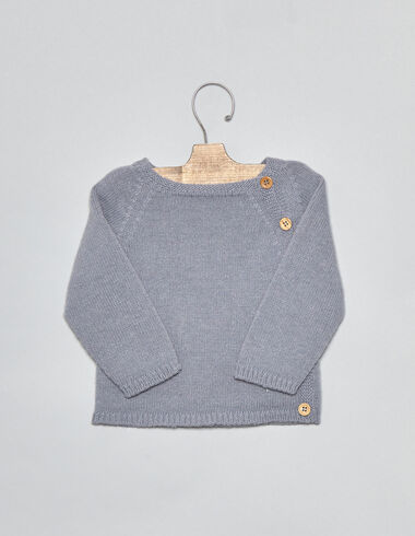 Lavender baby sweater with buttons - Pullovers - Nícoli