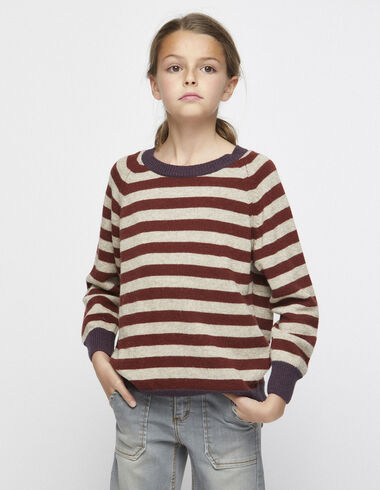 Girl´s purple contrast striped jumper - View all > - Nícoli