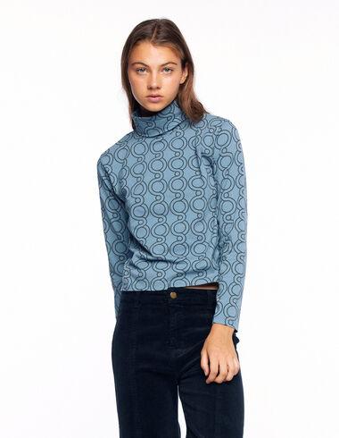 T-shirt col roulé print géométrique bleu clair - Voir tout > - Nícoli