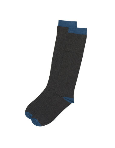 Grey and blue ribbed socks - All About Socks - Nícoli