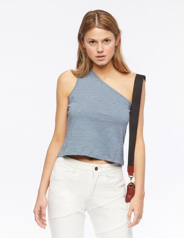 Camiseta asimétrica sin mangas azul  - The Summer Denim - Nícoli