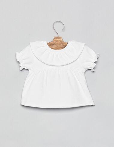 Camiseta bebé cuello volante blanca - Camisetas - Nícoli