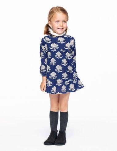 Vestido manga farol flor india azul - The Autumn Print - Nícoli