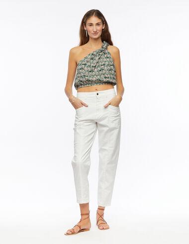 Pantalon découpes poches blanc - Pantalons - Nícoli