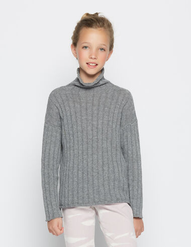 Girl's grey turtle neck sweater - View all > - Nícoli