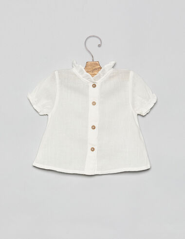 White high neck baby blouse with buttons - View all > - Nícoli