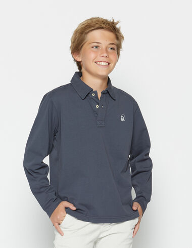 Boy's dark blue long-sleeved polo shirt - View all > - Nícoli