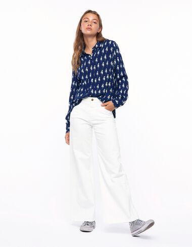 Off-white wide leg yoke trousers - Denim - Nícoli