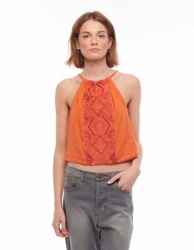 Orange embroidered halter top - Blouses and Tops - Nícoli